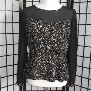 Peplum Blouse w/Sheer Long Sleeves Size Large